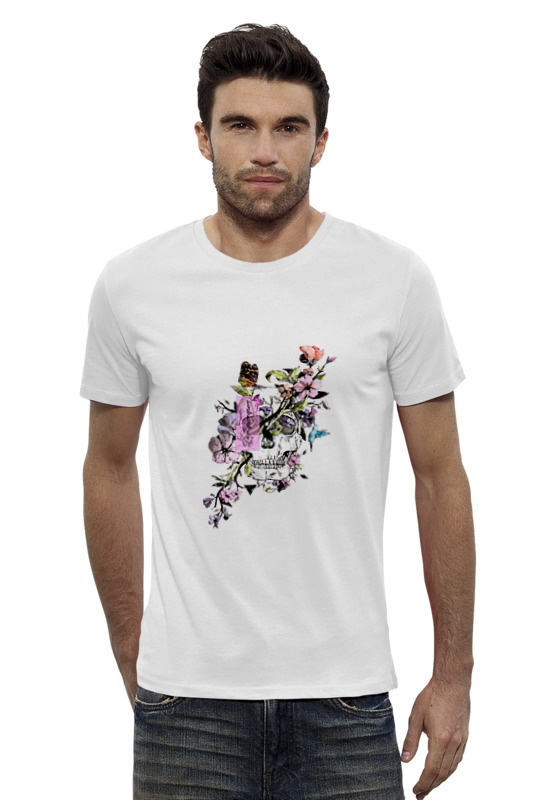 Футболка Wearcraft Premium Slim Fit Printio Череп с цветами dum spiro sper футболка wearcraft premium slim fit printio муравьед с цветами