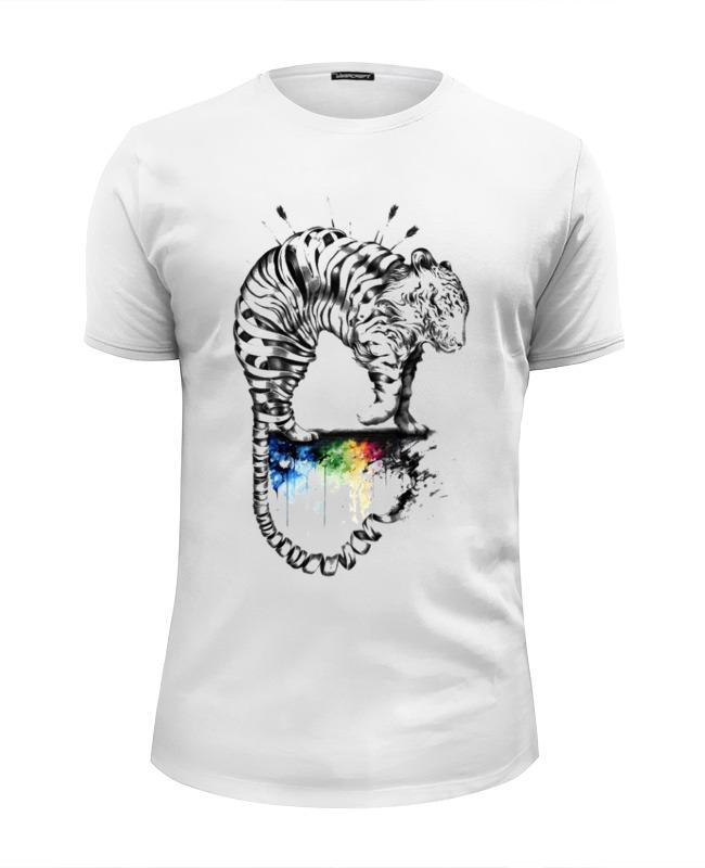 Футболка Wearcraft Premium Slim Fit Printio Радужный тигр футболка wearcraft premium slim fit printio радужный кот