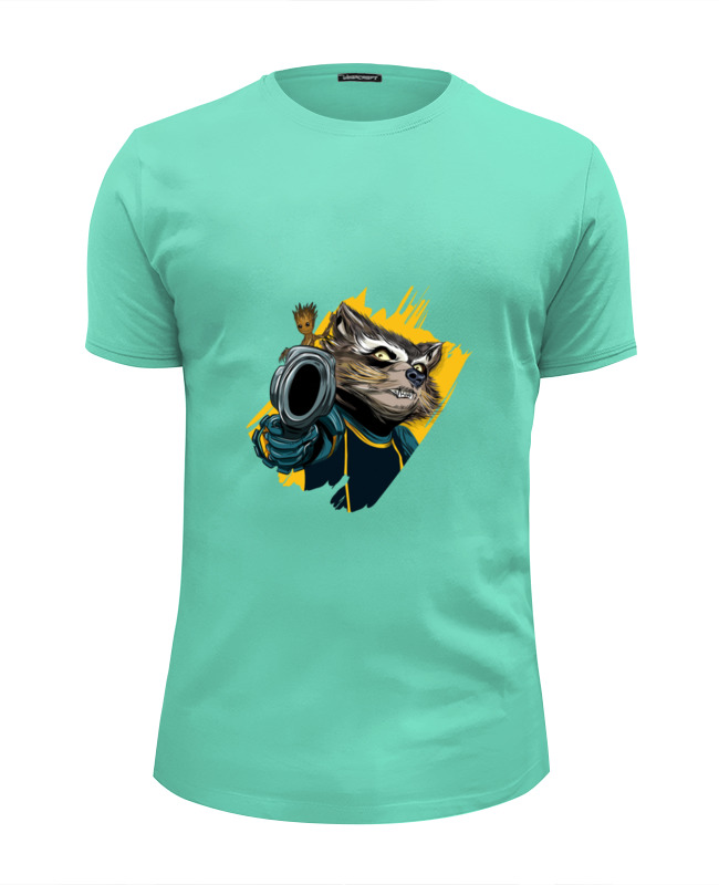 Футболка Wearcraft Premium Slim Fit Printio Rocket raccoon & baby groot лонгслив printio rocket raccoon and groot