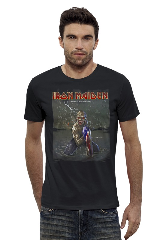 Футболка Wearcraft Premium Slim Fit Printio Iron maiden band мужские сумки