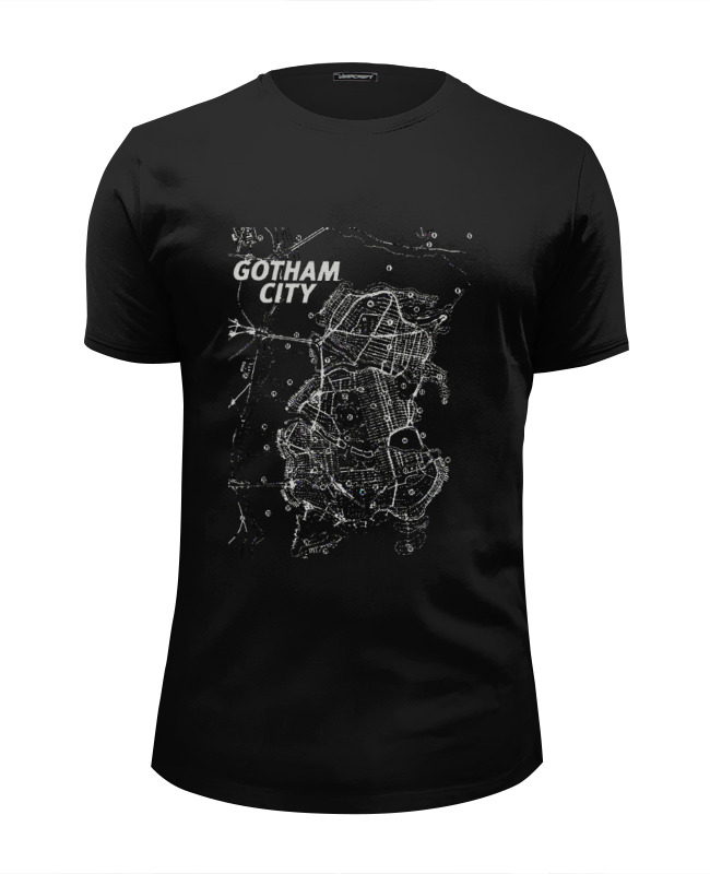 Футболка Wearcraft Premium Slim Fit Printio Gotham city map amsterdam city map