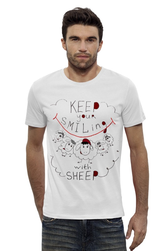 Футболка Wearcraft Premium Slim Fit Printio Keep your smiling sheep keep smiling through