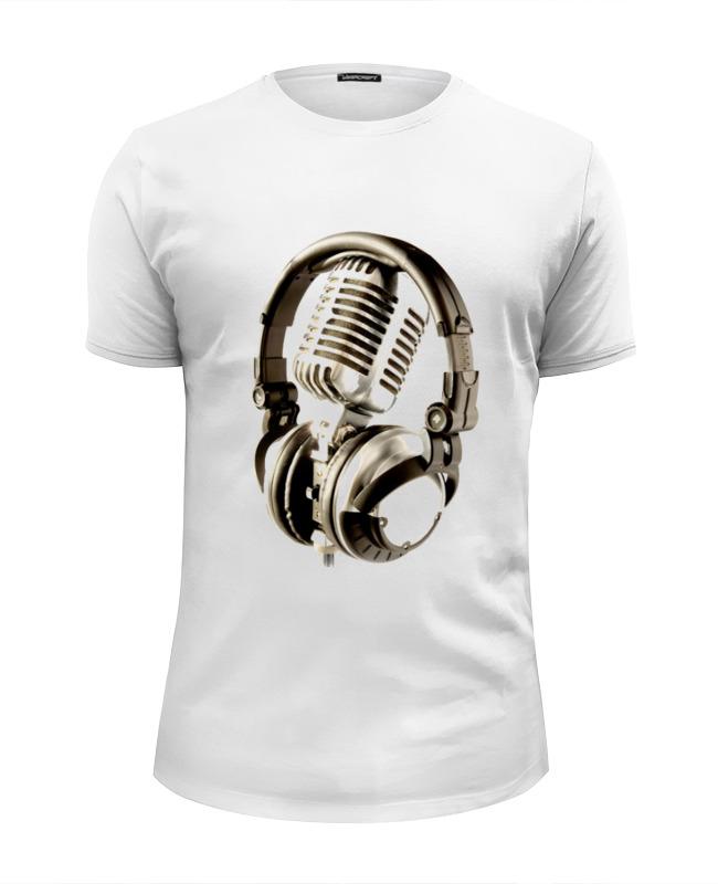 Футболка Wearcraft Premium Slim Fit Printio Микрофон & наушники наушники противошумные fit 12104