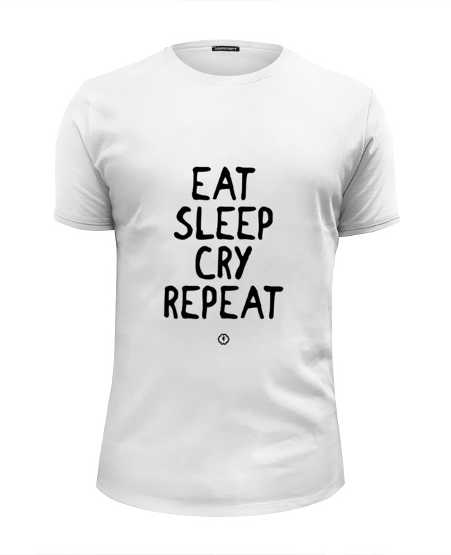 Футболка Wearcraft Premium Slim Fit Printio Eat cry repeat by brainy сумка printio eat cry repeat by brainy