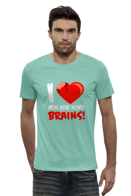 Футболка Wearcraft Premium Slim Fit Printio I love brains (zombie)