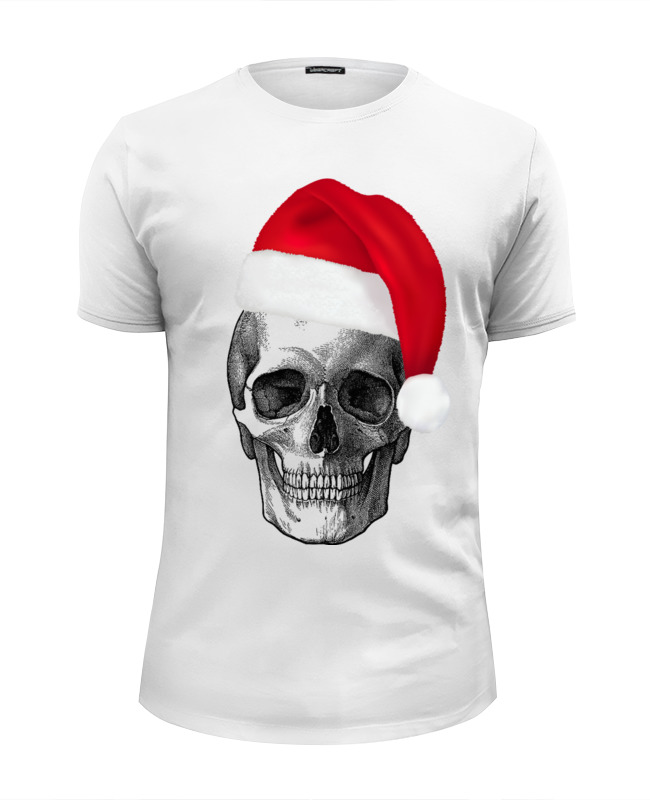 Футболка Wearcraft Premium Slim Fit Printio Skull happy new year