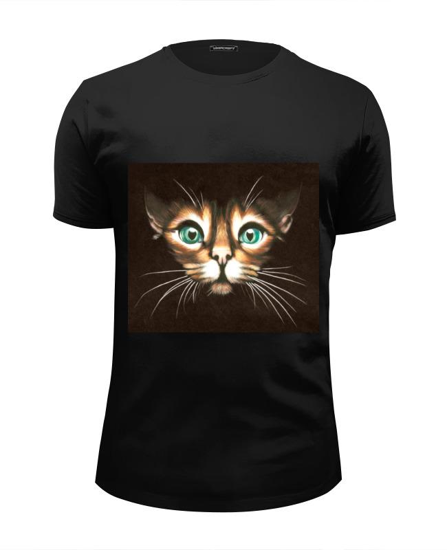 Футболка Wearcraft Premium Slim Fit Printio Кошка с зелеными глазами футболка классическая printio кошка с зелеными глазами