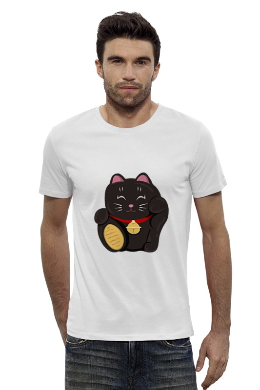 Футболка Wearcraft Premium Slim Fit Printio Черный кот (манэки-нэко) футболка wearcraft premium slim fit printio черный кот манэки нэко