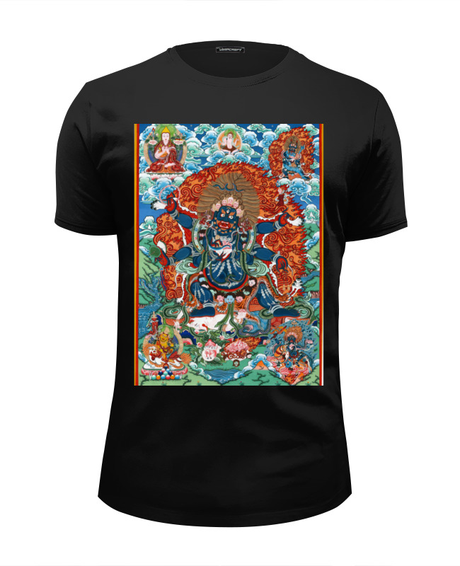 Футболка Wearcraft Premium Slim Fit Printio Тибетская vajrabhairava 雷锋的故事(黑白版)