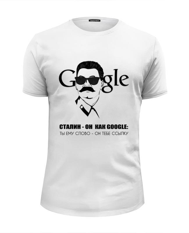 Футболка Wearcraft Premium Slim Fit Printio Сталин - он как google... kak prevratit iphone v google pixel