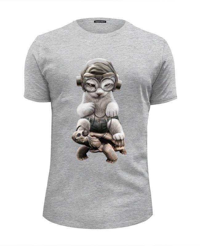 Футболка Wearcraft Premium Slim Fit Printio Кот на черепахе футболка wearcraft premium slim fit printio кот суши