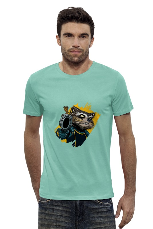 Футболка Wearcraft Premium Slim Fit Printio Rocket raccoon & baby groot