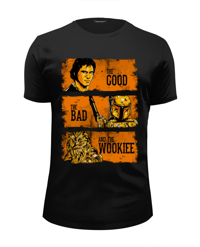 Футболка Wearcraft Premium Slim Fit Printio The good, the bad and the wookie лонгслив printio the good the bad and the wookie