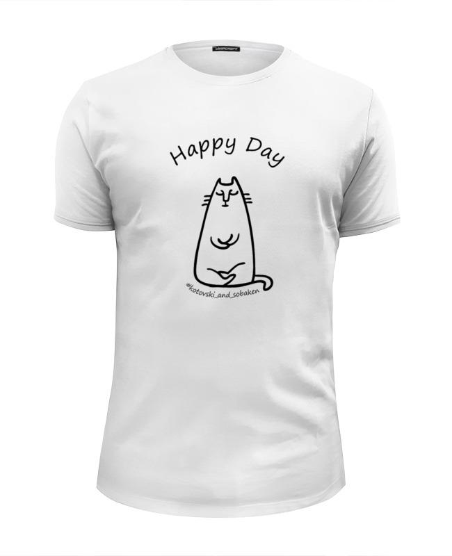 Printio Happy day (cat) (мужская, белая) футболка белая мужская без рисунка