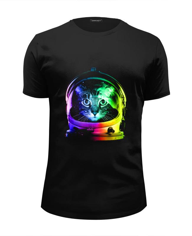 Футболка Wearcraft Premium Slim Fit Printio Кот космонавт футболка wearcraft premium slim fit printio русский космонавт