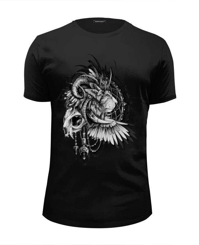 Футболка Wearcraft Premium Slim Fit Printio Black-white lion цена