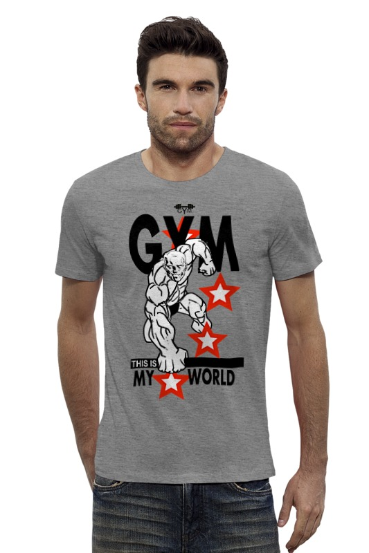 Футболка Wearcraft Premium Slim Fit Printio Gym this is my world! this globalizing world