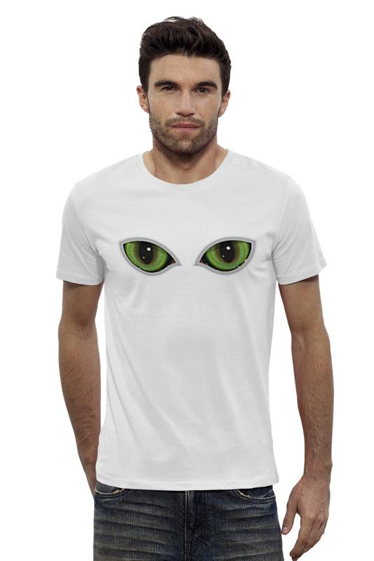 Футболка Wearcraft Premium Slim Fit Printio Глаза кота сквозь прорезь смотрят падение сквозь ветер