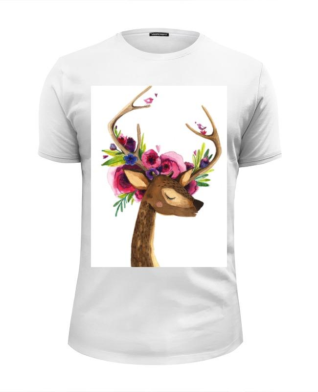 Футболка Wearcraft Premium Slim Fit Printio Олень с цветами в рогах футболка wearcraft premium slim fit printio муравьед с цветами
