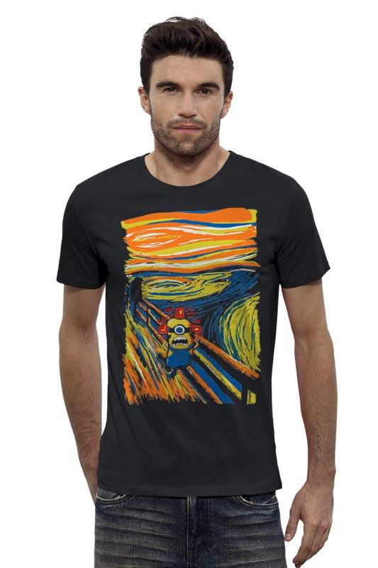 Футболка Wearcraft Premium Slim Fit Printio Крик миньона (эдвард мунк) серая футболка для мальчика миньона 38