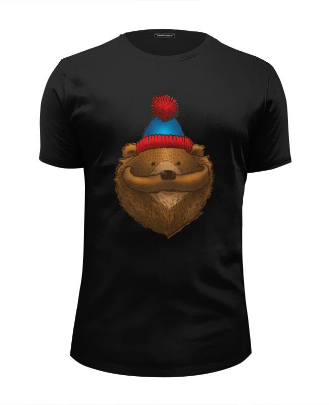 Футболка Wearcraft Premium Slim Fit Printio Медведь с усами футболка wearcraft premium slim fit printio медведь с магнитофоном