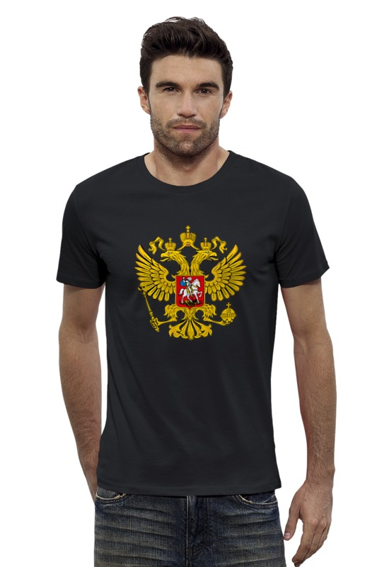 Футболка Wearcraft Premium Slim Fit Printio Герб россии футболка wearcraft premium printio штаты россии