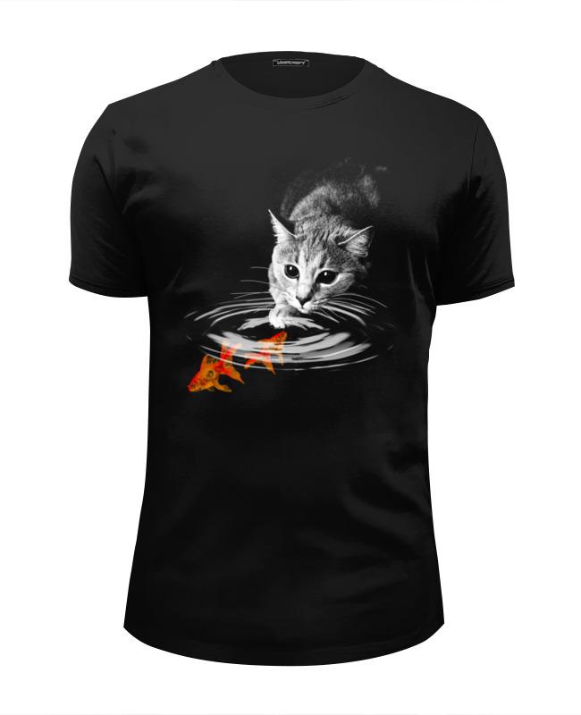 Футболка Wearcraft Premium Slim Fit Printio Кот и рыбки футболка wearcraft premium slim fit printio радужный кот