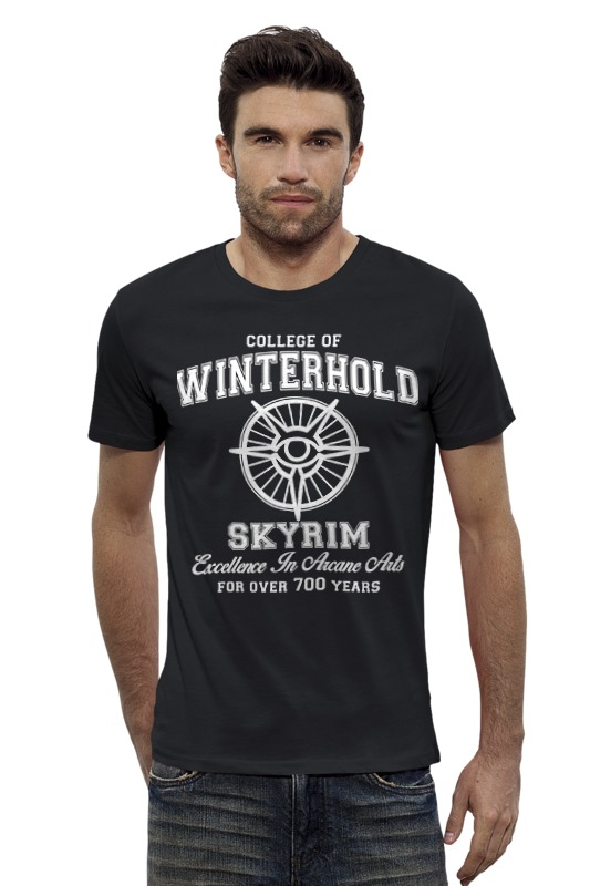 Футболка Wearcraft Premium Slim Fit Printio Скайрим. college of winterhold игра софтклаб the elder scrolls iii morrowind game of the year edition