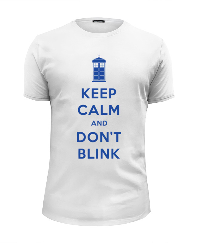 Футболка Wearcraft Premium Slim Fit Printio Keep calm and don't blink (tardis) цена