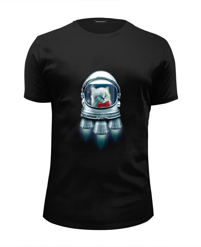 Футболка Wearcraft Premium Slim Fit Printio Котёнок космонавт футболка wearcraft premium slim fit printio спящий котёнок