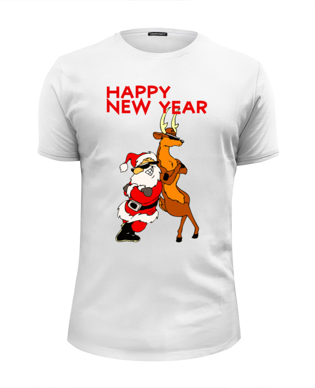 Футболка Wearcraft Premium Slim Fit Printio Happy new year лонгслив printio happy new year