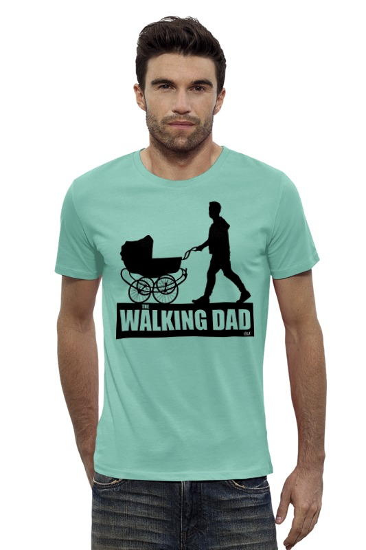 Футболка Wearcraft Premium Slim Fit Printio The walking dad are the dinosaurs dead dad