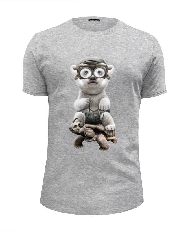 Футболка Wearcraft Premium Slim Fit Printio Медведь на черепахе цена