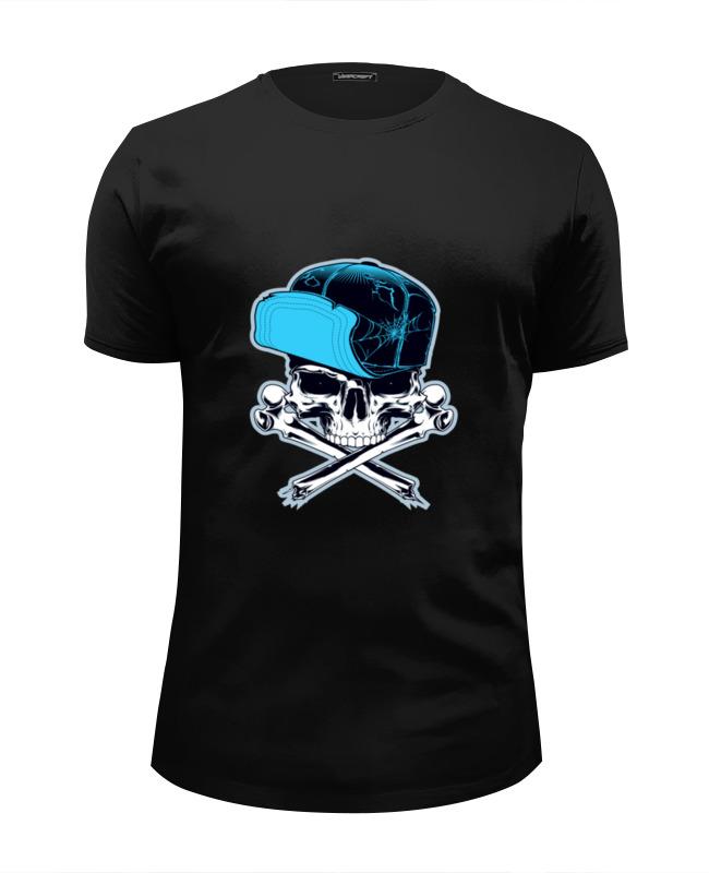 Футболка Wearcraft Premium Slim Fit Printio Череп в кепке футболка wearcraft premium slim fit printio череп в розах