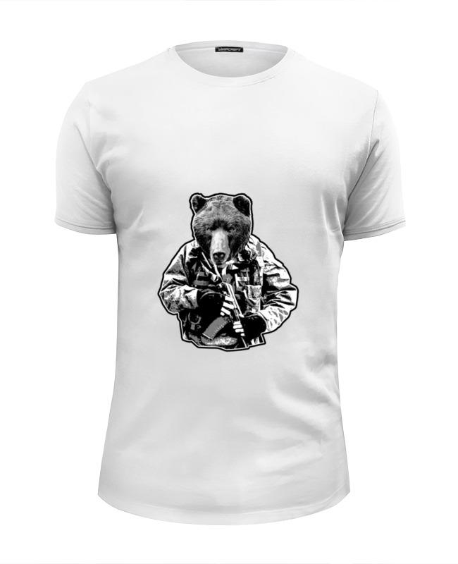 Футболка Wearcraft Premium Slim Fit Printio Медведь солдат футболка рингер printio медведь солдат