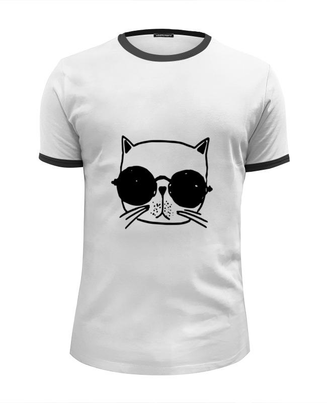 Футболка Wearcraft Premium Slim Fit Printio Кот и очки футболка рингер printio чёрный причёрный кот