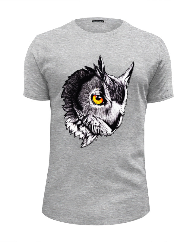 Футболка Wearcraft Premium Slim Fit Printio Owl gray цены онлайн