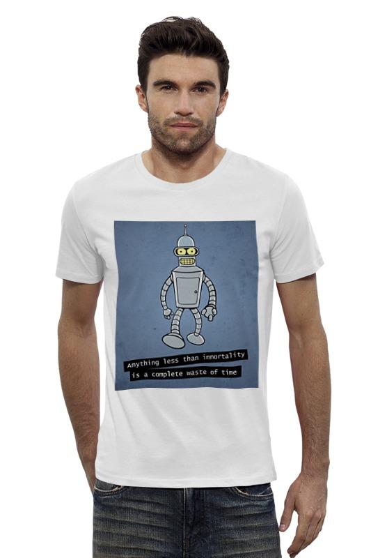 Футболка Wearcraft Premium Slim Fit Printio Bender says бессмертие