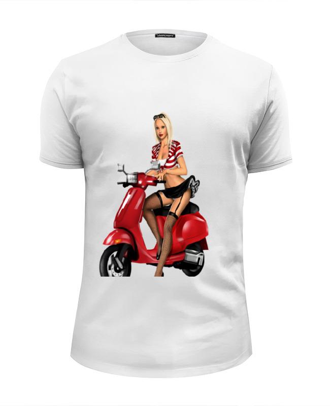 Футболка Wearcraft Premium Slim Fit Printio Девушка на мотоцикле футболка wearcraft premium slim fit printio скелетон на мотоцикле