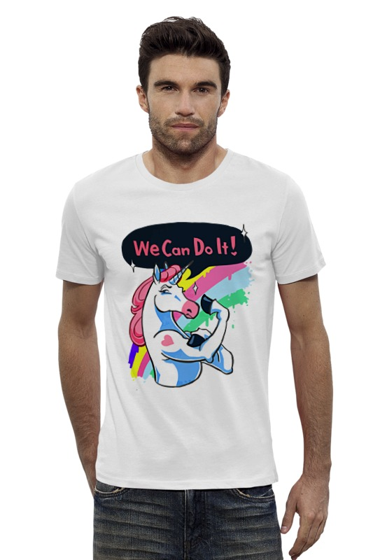 Футболка Wearcraft Premium Slim Fit Printio We can do it! (unicorn) can we still be friends
