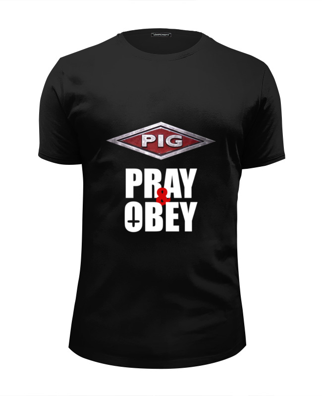 Футболка Wearcraft Premium Slim Fit Printio Pig / pray & obey толстовка женская puma urban sports fz hoody цвет темно зеленый 59404414 размер m 44 46