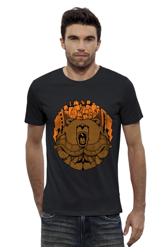 Футболка Wearcraft Premium Slim Fit Printio Bear city / медведь лонгслив printio bear beer медведь и мед