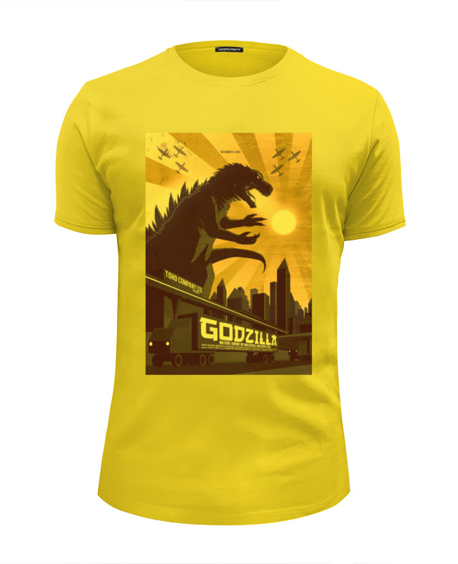 Футболка Wearcraft Premium Slim Fit Printio Godzilla yellow