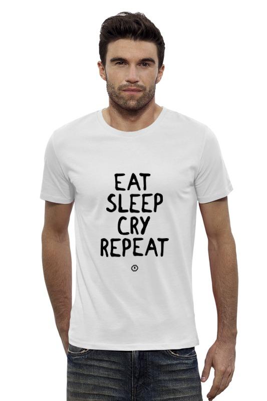 Футболка Wearcraft Premium Slim Fit Printio Eat cry repeat by brainy футболка repeat футболка