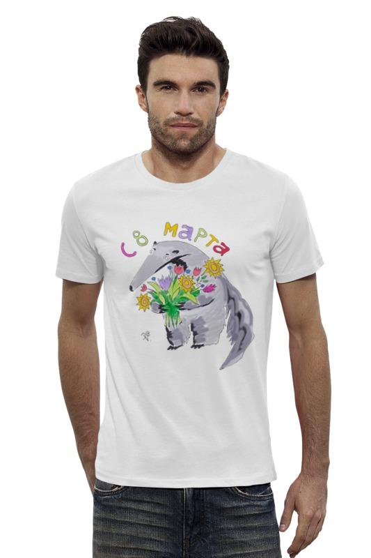 Футболка Wearcraft Premium Slim Fit Printio Муравьед с цветами футболка классическая printio муравьед с цветами