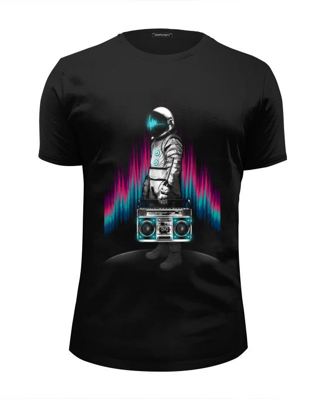 Футболка Wearcraft Premium Slim Fit Printio Космонавт с магнитофоном футболка wearcraft premium slim fit printio медведь с магнитофоном