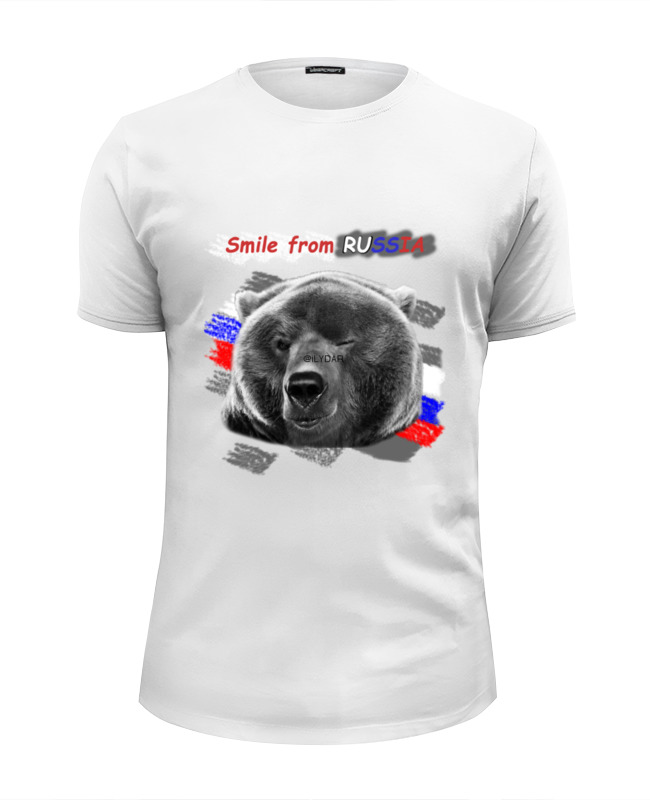 Футболка Wearcraft Premium Slim Fit Printio Smile frome russia футболка wearcraft premium printio bear race russia 2018