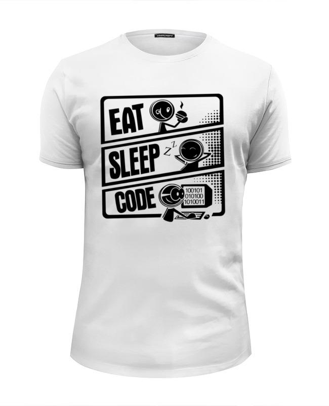 Футболка Wearcraft Premium Slim Fit Printio Eat, sleep, code 45mm golden plated parnis watch case sapphire glass fit 6498 6497 eat movement50