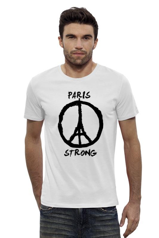 футболка стрэйч printio pray for paris молитесь за париж Футболка Wearcraft Premium Slim Fit Printio Париж сильный (мир парижу)