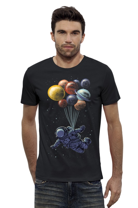 Футболка Wearcraft Premium Slim Fit Printio Космический полёт футболка wearcraft premium printio космический кит